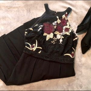 black embroidered Le Chateau A-line holiday dress